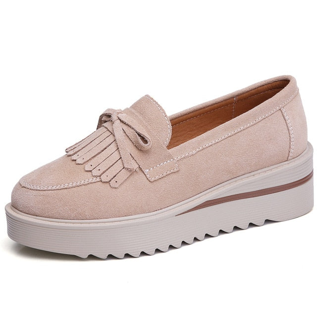 Tassel Platform Casual Leather Suede Shoes For Women