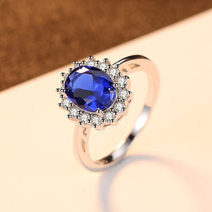 925 Sterling Silver Simulated Blue Sapphire Wedding Engagement Ring