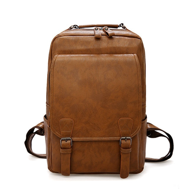 Khaki PU Leather Travel Big Capacity Laptop Backpack