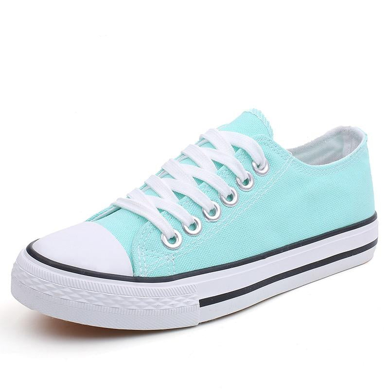 Students Comfortable Round Toe Lace up Low Top Flats Spring Canvas Shoes