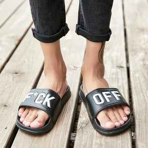 Men's Casual Breathable Beach Slippers Wedge Black White Flip Flops