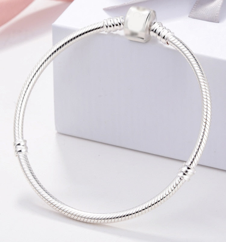 Snake Bone Design Original 925 Solid Silver Charm Bracelets for Women