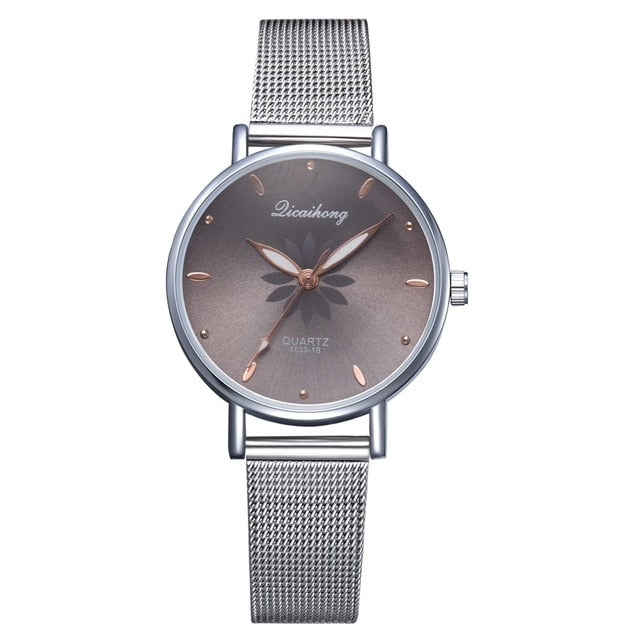 Silver Popular Pink Dial Flowers Wrist Watch For Women