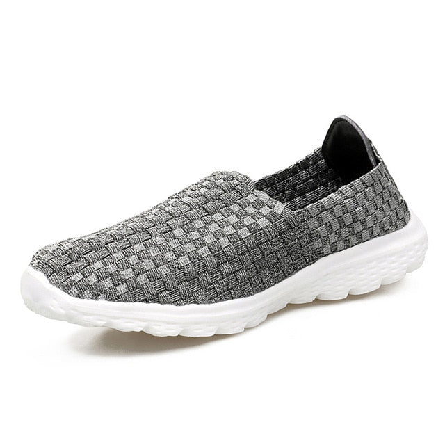 New Casual Loafers Flat Footwear For Women With Woven Slip Shoes