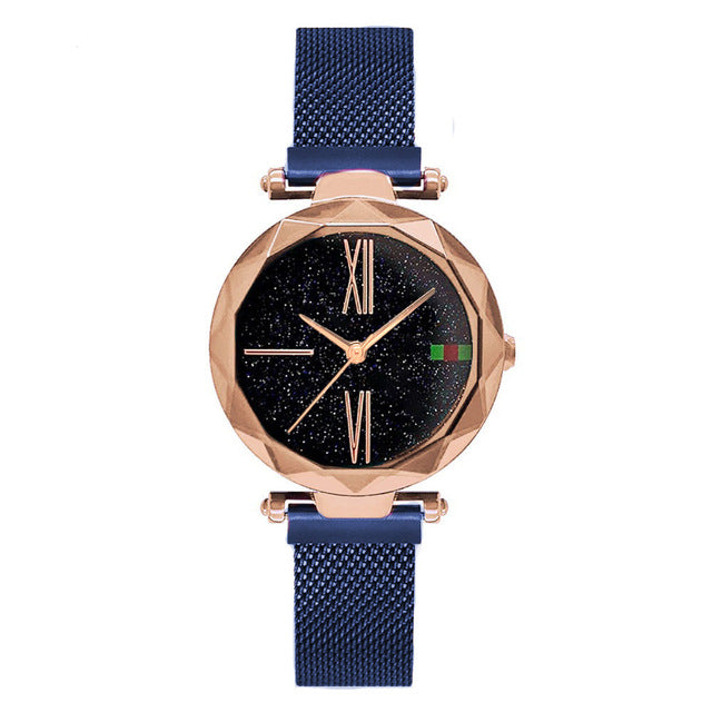 Magnet Starry sky Wrist Watch For Women With Rose Gold Color
