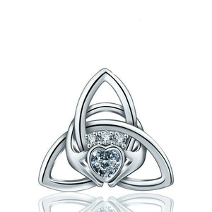 925 Sterling Silver Claddagh Celtics Knot Pendant Without Chain