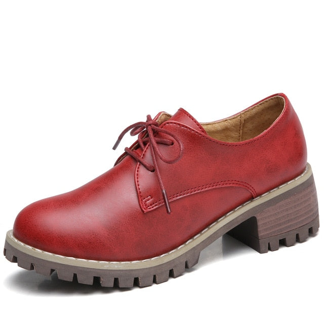 Med Heel Leather Laces With Round Toe Spring Oxford Shoes For Women