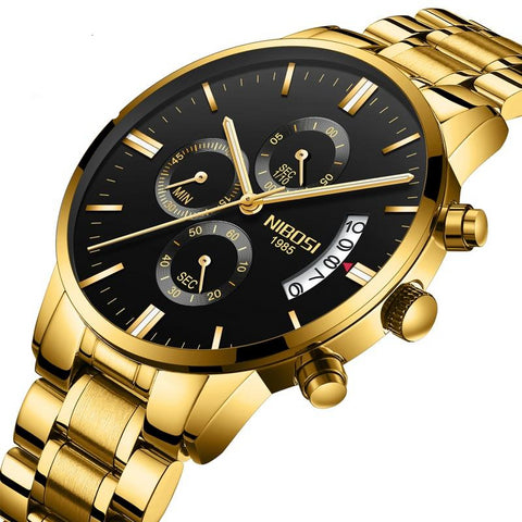 Led Digital Analog Quartz Watches Waterproof Stainless Steel Band