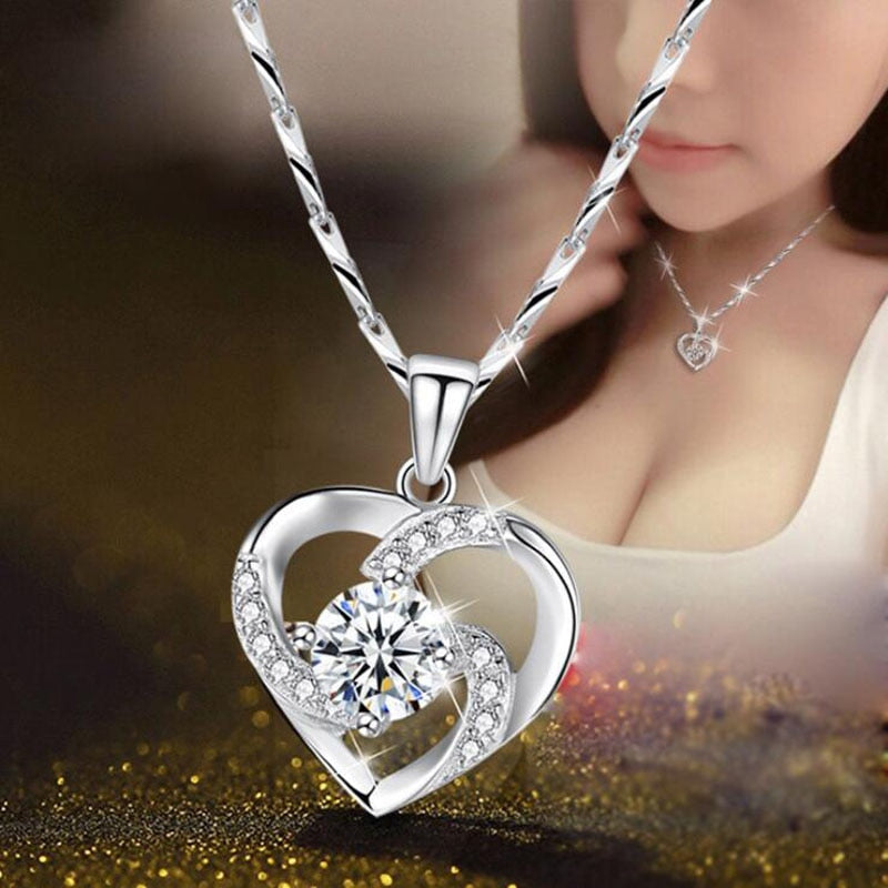 New Luxury Crystal CZ Heart Pendant Chain With 925 Sterling Silver For Women