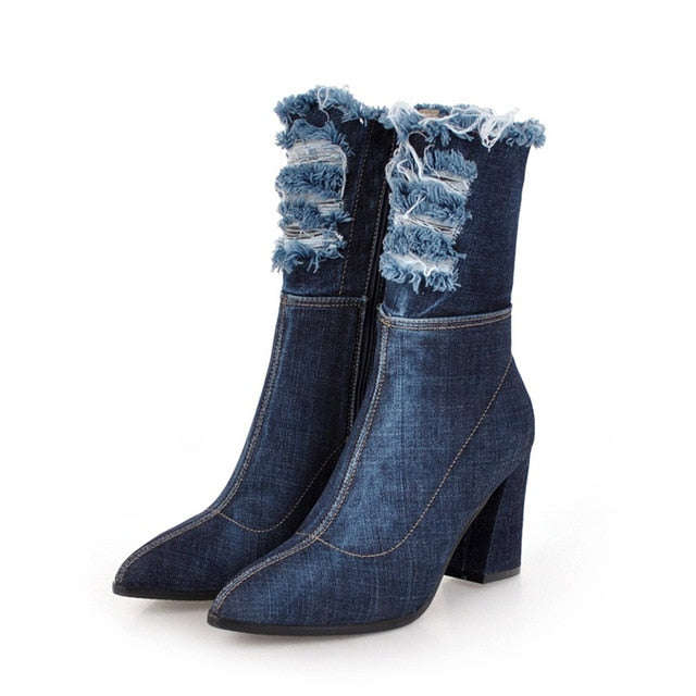 Denim Thick High Heels With Fashion Pointed Toe Lady Ripped Shoes For Women