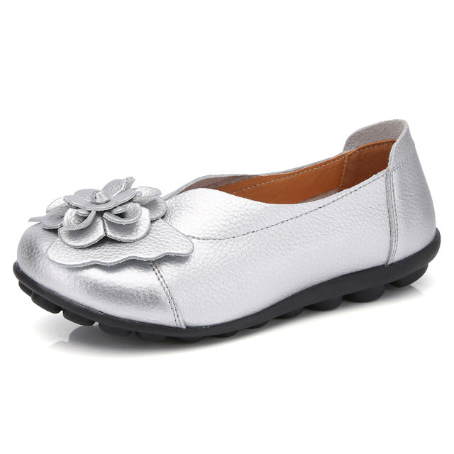 Loafers Flower Moccasins Leisure Split Leather Shoes For Women