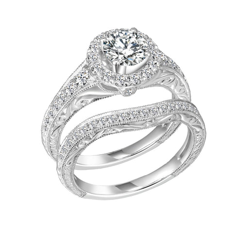 2Pcs 925 Sterling Silver Round CZ Bridal Set Wedding Engagement Ring