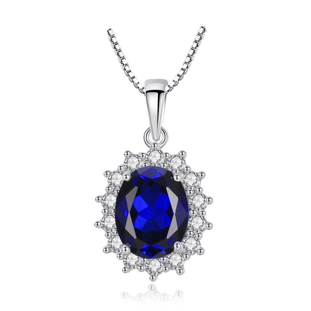 Elegant Oval Princess Sapphire Pendant Necklace With 100% 925 Sterling Silver For Women