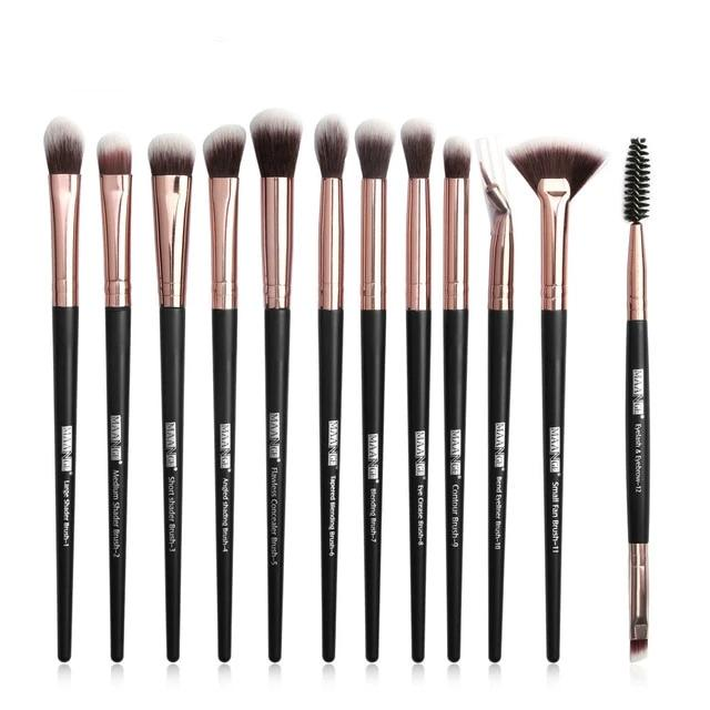 New Professional Blending Eyeshadow Eyebrow Brush With Make Up Brushes 3-12 PCS Set
