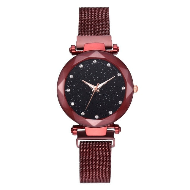 Luxury Magnet Buckle Starry Bracelet Wrist Watches For Women With Black Design