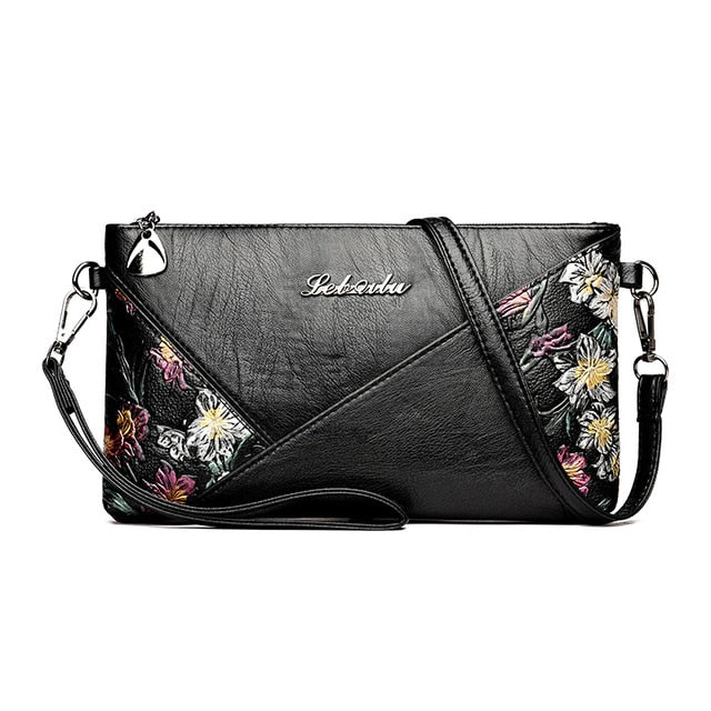 PU Leather Printed Flowers Cross-body Messenger Bag for Women