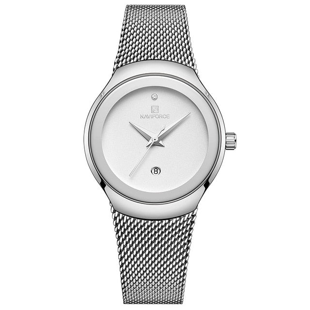 Stainless Steel Waterproof Wristwatch For Women With Matching Fashion Dress Quartz