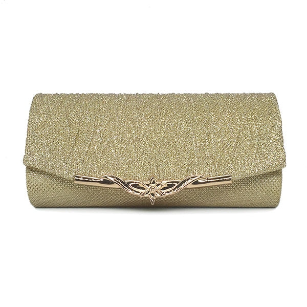 Luxury Party Glitter Clutch Bag With Hanging Metallic Chain For Women