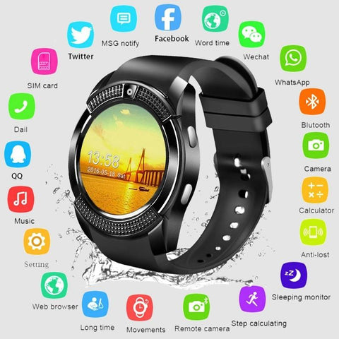 Support Sim TF Card Phone Call Push Message Camera  & Bluetooth Sport  Smart watch