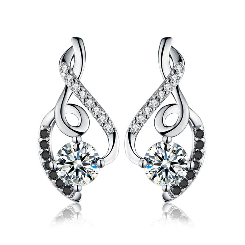 925 Sterling Silver Simulated CZ Vintage Style Stud Earring