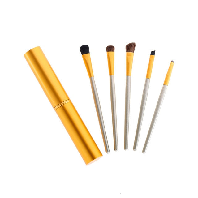 Travel Portable Eyeshadow Eyeliner  With Mini Eye Makeup Brushes Set Professional 5pcs