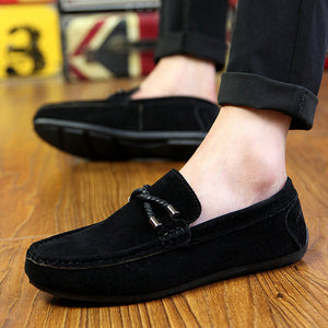 Men's Casual Loafers Comfortable Flat Breathable Slip-On Soft Leather Driving Shoes