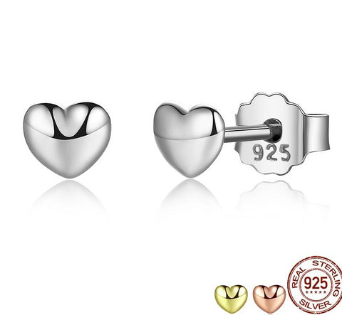 Plain Hearts Stud Earrings for Women With 100% 925 Sterling Silver