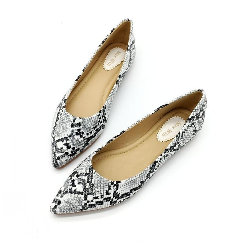 Women Ballet Flats Snake Print Slip-On Spring Autumn Footwear