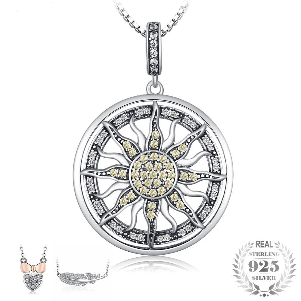 Sun Pendant Necklace Charm For Women With 925 Sterling Silver