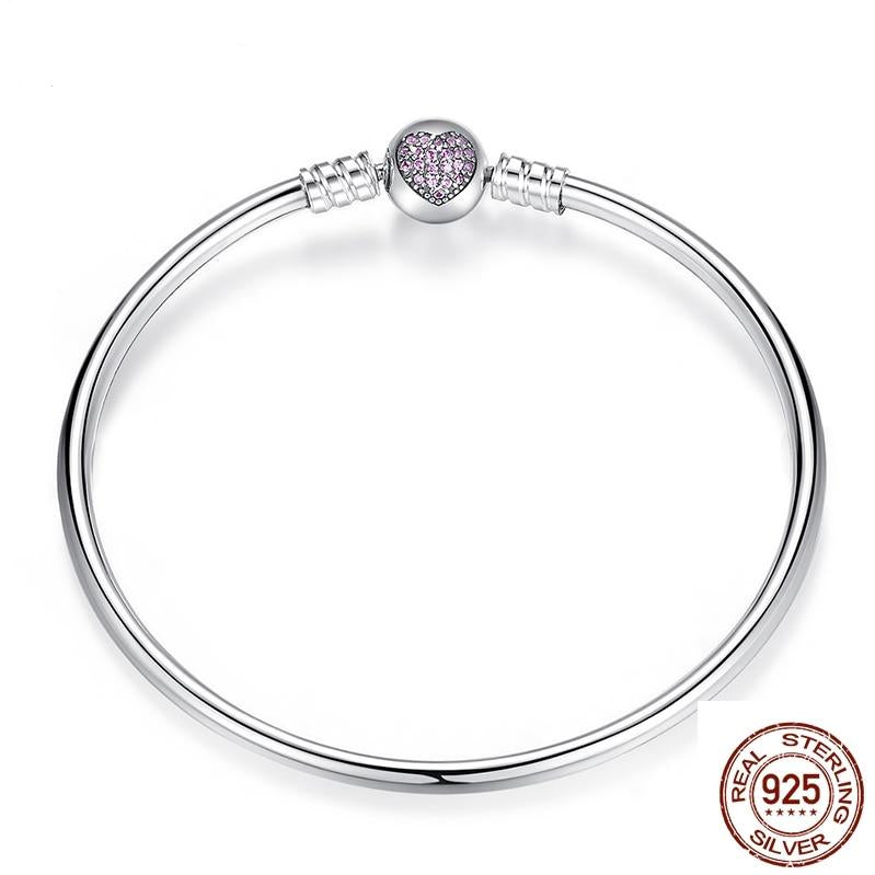 Snake Chain With Heart Bangle & Bracelet 925 Sterling Silver For Women