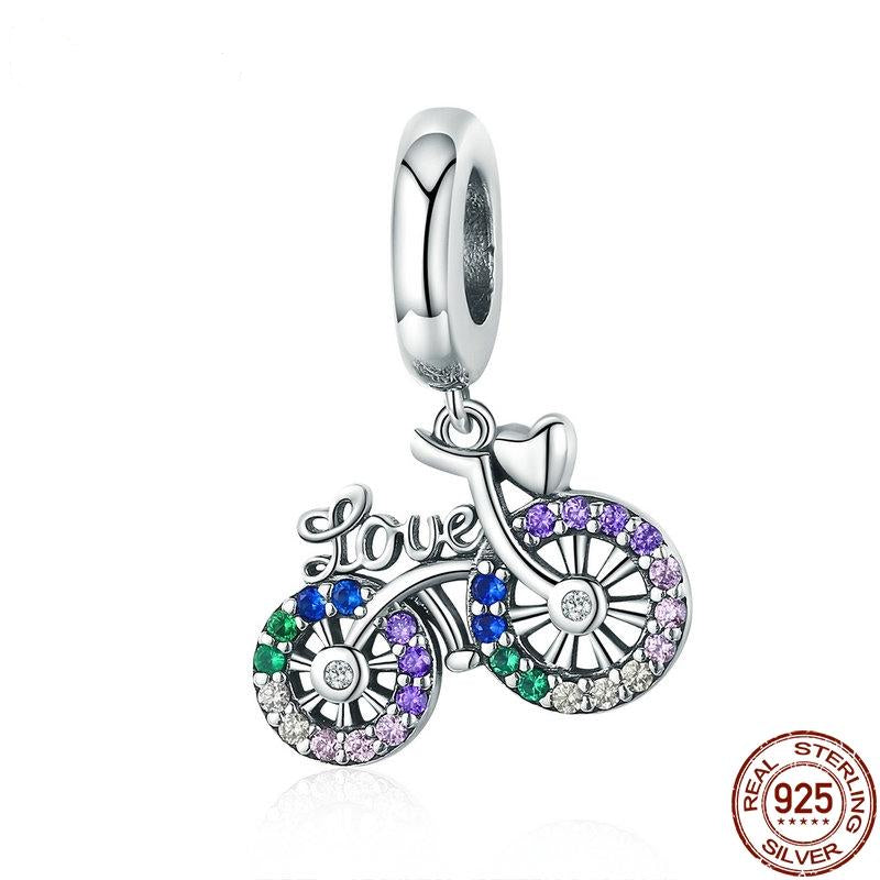 Crystal Bike Bicycle Shape Pendant With 925 Sterling Silver Jewelry For Women
