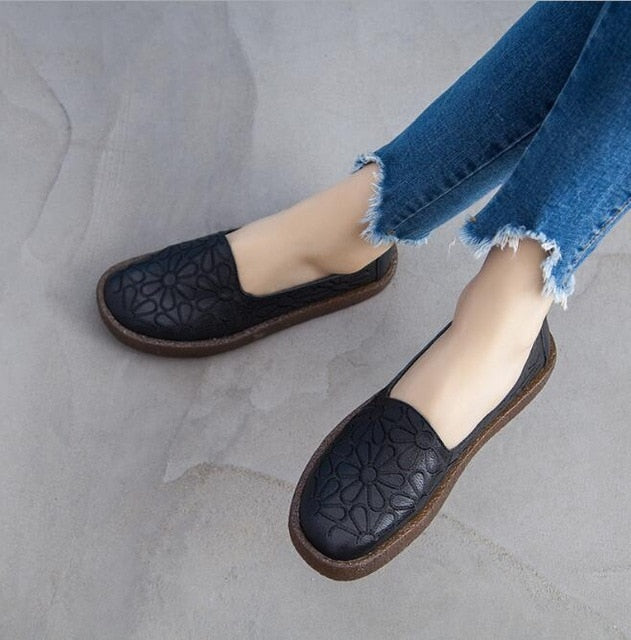Women Casual Shoes Genuine Leather Summer Loafers
