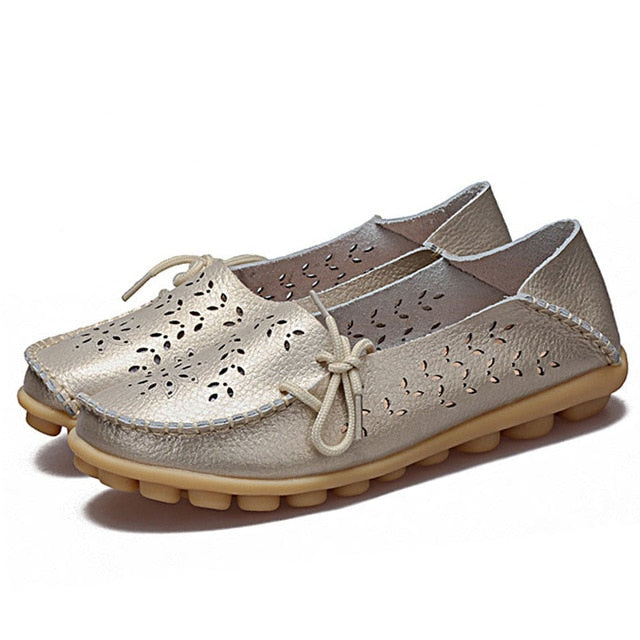 New Moccasins Slip On Loafers Genuine Leather & Driving Woman Shoes