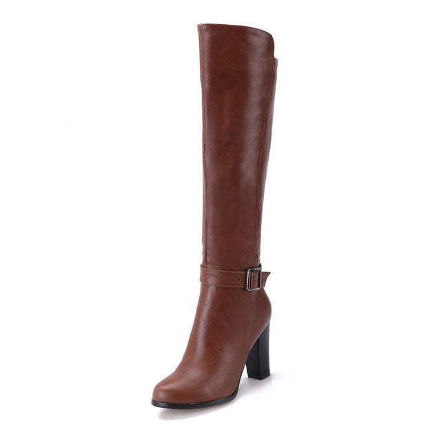 High Knee Fashion High Heels Round Boot For Women