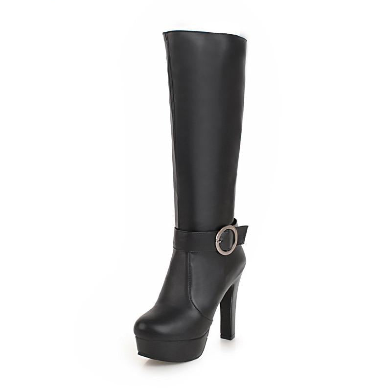 Long High Heels Boot Fashion Platform Shoes For Women With Round Boots
