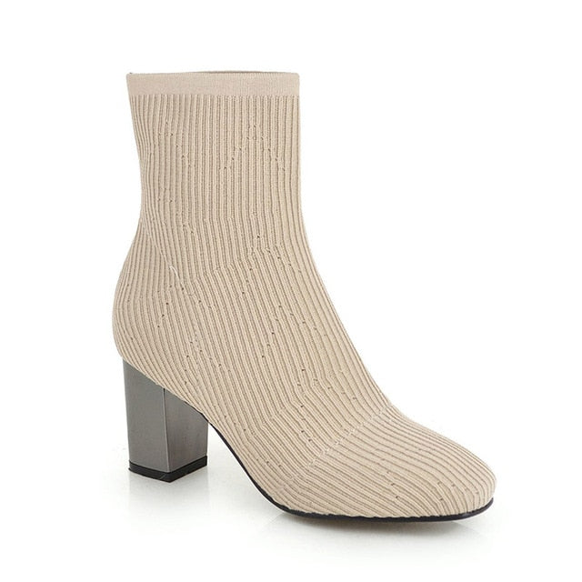 High Heels Sock Boot With Square Toe Footwear For Woman