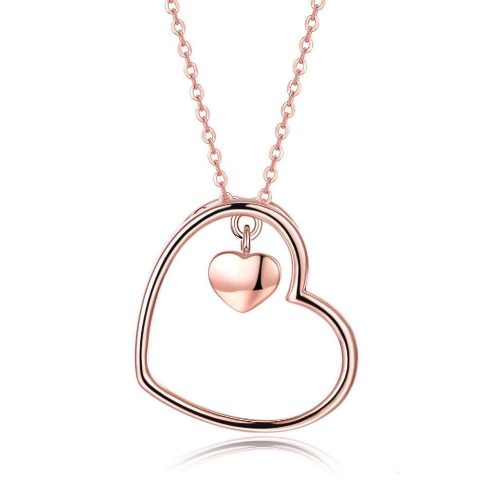 925 Sterling Silver Romantic Heart Shape Chain Necklace & Pendant
