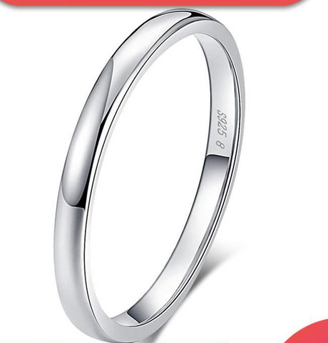100% Real 925 Sterling Silver Simple Classic Wedding Ring