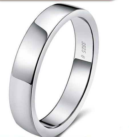 925 Sterling Silver Classic Round Shape Simple Style Anniversary Wedding Ring