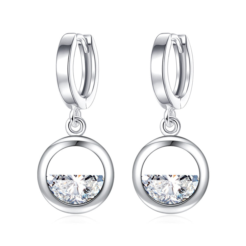 925 Sterling Sliver Round Semi-circle Simulated CZ Dangle Earring