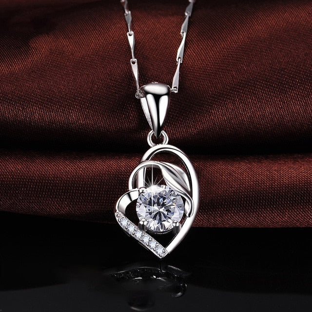 925 Sterling Silver Simulated Amethyst Heart Pendant  Without Chain