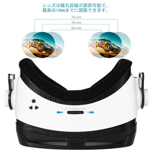Virtual Reality Headset 3D with Stereo Headphones for Smartphones