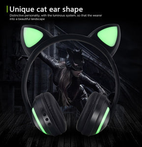 Cat Ear Bluetooth Headphones 7-Color Led Flashing Glowing Ear Headset