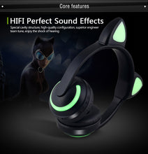 Load image into Gallery viewer, Cat Ear Bluetooth Headphones 7-Color Led Flashing Glowing Ear Headset