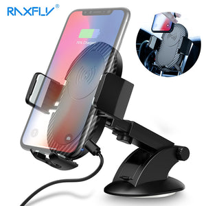 RAXFLY Car Wireless Charger For iPhone X 8 7 Plus 10W Fast Qi Wireless Charger For Samsung S9 S8 2 In 1 Car Phone Holder Stand