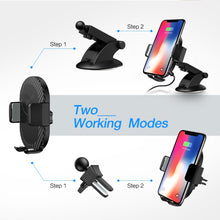 Load image into Gallery viewer, RAXFLY Car Wireless Charger For iPhone X 8 7 Plus 10W Fast Qi Wireless Charger For Samsung S9 S8 2 In 1 Car Phone Holder Stand