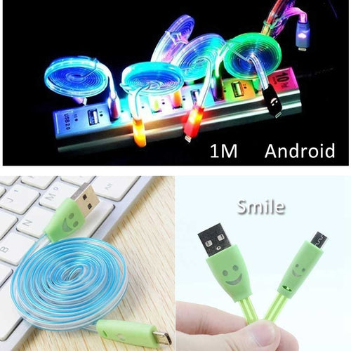 1m Luminous Smile Face Colorful Data Cable