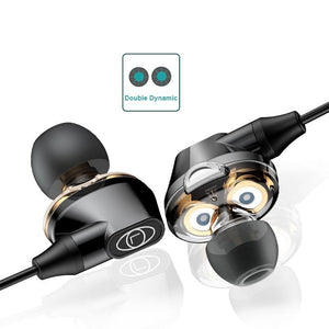 Dual Dynamic Driver Wired Earphones with Mic