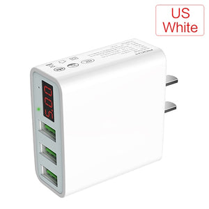 Adapter with LED Display EU and US Plugs (2/3 USB Ports)