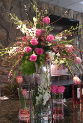 Elevated table top flower arrangements